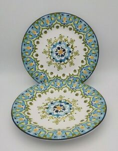 Set of TWO Pier 1 Imports Round Celeste Dessert Plate Blue Green Floral Pattern