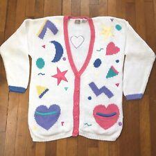 Vintage Stefano Pastel Fairy Kei Cardigan Sweater Celestial Moon Hearts Stars M