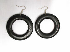 BIG BLACK REAL WOOD DONUT ROUND DANGLING WOODEN HOOP STYLE ELEMENTAL EARRINGS