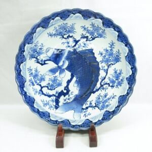 C207: Real Japanese KO-IMARI blue-and-white porcelain BIG plate with great carp