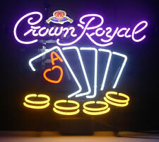 """New Crown Royal Poker Whiskey Neon Sign 17""""x14"""""""