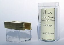 """40 Solid Brass Metal Collar Stays For Dress Shirts 2.15"""" Inch Jake's Small"""