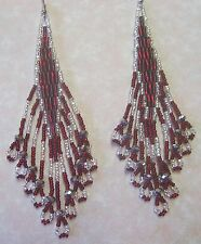 Garnet & Silver Earrings Native Style Seed Bead Handmade  4.5 Made In USA By Me