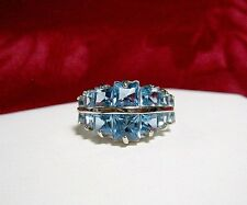 14K WHITE GOLD RING WITH BLUE TOPAZ PRINCESS CUT MULTI STONES SIZE 6.25