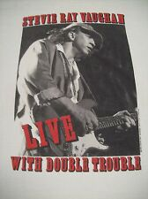 """STEVIE RAY VAUGHAN """"LIVE WITH DOUBLE TROUBLE"""" VINTAGE TOUR T-SHIRT X-LARGE 1989"""
