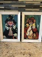 "Framed 9.5"" x 6.5"" OrIginal Vintage Clown Paintings PAIR"