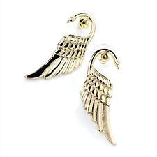 ELEGANT GOLD COLOUR SWAN NECK WING DESIGN EARRINGS EAR STUDS PAIR SIGNET BIRD