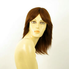 perruque femme 100% cheveux naturel châtain clair cuivré ref DELPHINE 30