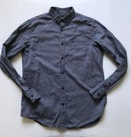 Banana Republic Sz Men's M Navy Solid Luxe Flannel Camden Fit Button Down Shirt