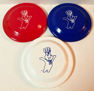 """3 PILLSBURY DOUGHBOY PLASTIC FRISBEES 9"""" MADE IN USA RED WHITE BLUE NEW"""