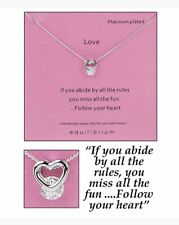 Equilibrium Platinum Plated Love Heart Sentiment Necklace 59561