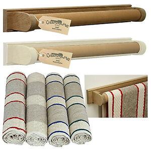 Creamore Mill Oak Towel Rail with Roller Towel - Oak or Cream/Oak - 4 Colours