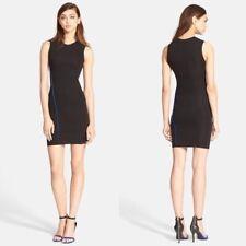 T Alexander Wang Black Blue Trim Sleeveless Bodycon Knit Dress Size L