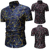 Men's Slim Fit Formal Short Sleeve Shirts Geometric Print Tops Tee Button Down