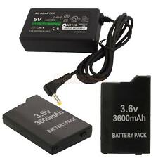 2X 3600mAh Battery + AC Adapter Home Charger for Sony PSP Slim 2000 3000