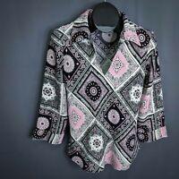 Giorgio Fiorlini Top Shirt Size Medium Pink Black Paisley Career Top