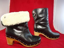 UGG Australia 1958 Lynnea Shearling Studded Wood Clog Ankle Boots Women Black 6