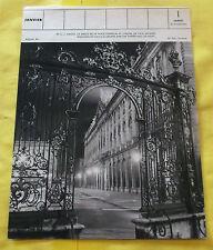 1955 Nncy la grille de la place Stanislas et de l'hôtel de ville de nuit vintage
