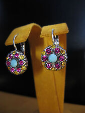 Mariana Earrings Flower Mosaic Swarovski Crystals Gift Blue Pink Y Silver Plated