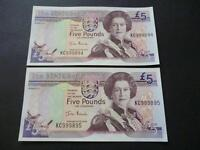 A PAIR OF JERSEY FIVE POUND NOTES CONSECUTIVE, UNCIRCULATED, JERSEY £5 NOTES