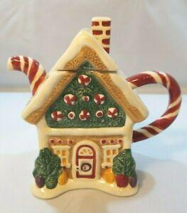 Sakura Debbie Mumm Christmas Teapot Gingerbread House Sweet Candy Canes