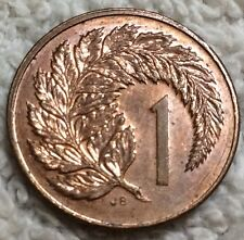 New Zealand coin 1 cent 1986 Value within silver fern leaf Elizabeth II Crowned