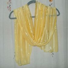 Oblong, Gold Metallic, Script Design Scarf in Yellow