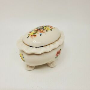 Vintage White Trinket Box Multicolored Flowers Ruffled Details Gold Trim Footed