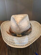 RENEGADE BY BAILEY U-rollit Women's Straw Cowboy hat made in Mexico SZ M feather