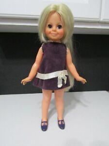 """Vtg 1969 Velvet Grow Hair Doll Crissy's Sister Original Dress and Shoes 15"""""""
