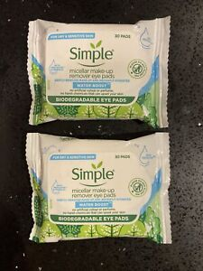 2 X Simple Micellar Make-Up Remove Biodegradable Eye Pads  30 Pads X 2(vv