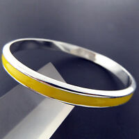 Bangle Bracelet Cuff Real 925 Sterling Silver S/F Solid Yellow Enamel Design