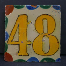 Mexican Vintage House Number Tile 48 Yellow