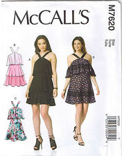 Easy Halter Strap Tiered Flounce Mini Sun Dress Sewing Pattern Sz 12 14 16 18 20