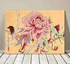 "Beautiful Japanese Floral Art ~ CANVAS PRINT 24x18"" ~Pink Blossom and Wren Bird"