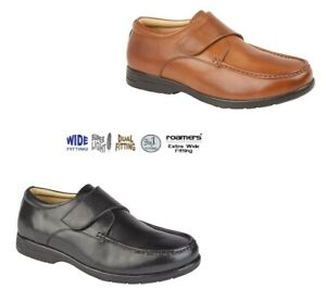 MENS ROAMERS E TO EEE EXTRA WIDE LEATHER DUEL FITTING TAN BLACK SHOE SIZE 7 - 15