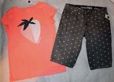 NWT Gap Kids Girl's Summer Camp Strawberry Shirt Top Gray Denim Shorts 12 XL YRS