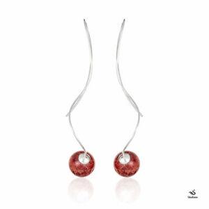 Red Coral Threaded Earrings, 925 Sterling Silver. 12mm ball size