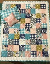 18 inch Doll Bedding set with 2 decorative pillows - pink, teal, bunny