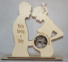 """""""WE'RE HAVING A BABY"""" COUPLES BABY SCAN PHOTO KEEPSAKE PHOTO FRAME WITH COVER"""