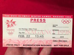 1998 Nagano Winter Olympics ICE HOCKEY gold medal game UNUSED MEDIA TICKET!!!