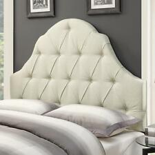Upholstered Panel Headboard Padded and Button Tufted Linen Beige King Size