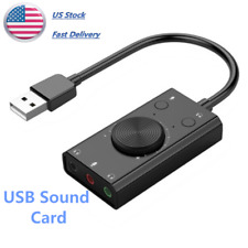 USB Sound Card External Audio Adapter 3.5mm AUX Microphone Jack Soundcard US Hot