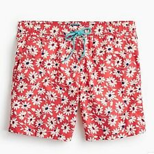 "J.Crew Men's 6"" Flex Printed Swim Trunks Shorts Red Meadow Floral Size XXL $69"