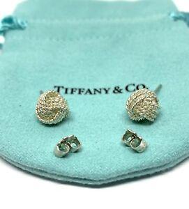 Tiffany & Co Sterling Silver Love Knot Ball Bead Stud Earrings