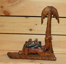 Vintage hand carving wood camel and palm figurine