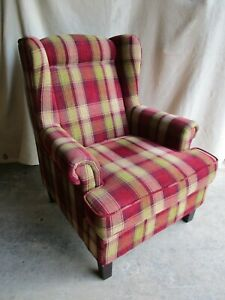 Tartan Fireside Armchair, High Back Winged Chair, Fabric, Red, Green