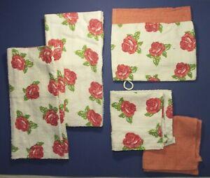 Ensemble lot linge de toilette bain gants serviettes 6 pièces coton fleur neuf