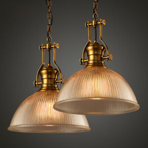 Loft Industrial Clear Glass Dome Shade Brass Chain Hanging Pendant Lights 38cm