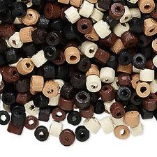 8024NB BULK Bead Wood Mix Heishi Black Brown Tan White Color 5mm - 60000 Qty